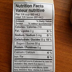 Maple Syrup's Nutrition facts